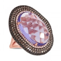 1.32ct White, Champagne & Black Diamond & 11.21ct Amethyst 14k Rose Gold Ring