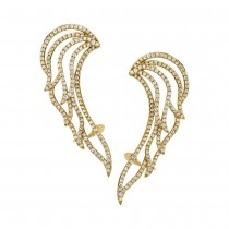 1.61ct 14k Yellow Gold Diamond Ear Crawler Earrings