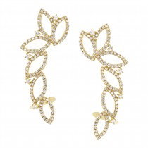 1.24ct 14k Yellow Gold Diamond Ear Crawler Earrings