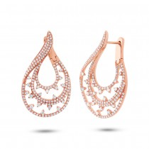 2.10ct 14k Rose Gold Diamond Earrings
