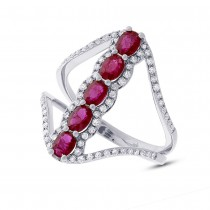 0.36ct Diamond & 1.08ct Ruby 14k White Gold Ring