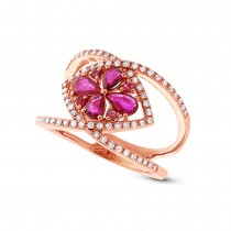 0.34ct Diamond & 0.80ct Ruby 14k Rose Gold Ring