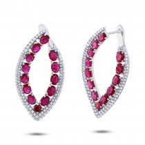 1.13ct Diamond & 5.40ct Ruby 14k White Gold Earrings