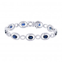 1.36ct Diamond & 5.77ct Blue Sapphire 14k White Gold Bracelet
