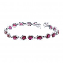 1.00ct Diamond & 8.68ct Ruby 14k White Gold Bracelet