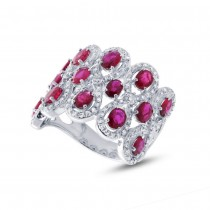0.92ct Diamond & 2.65ct Ruby 14k White Gold Ring
