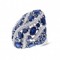 0.81ct Diamond & 9.09ct Blue Sapphire 14k White Gold Ring