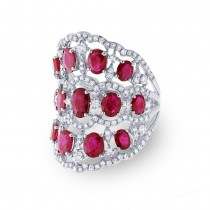 1.04ct Diamond & 4.18ct Ruby 14k White Gold Ring
