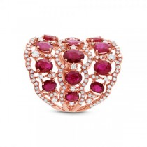 1.04ct Diamond & 4.18ct Ruby 14k Rose Gold Ring