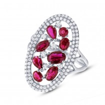 0.63ct Diamond & 1.94ct Ruby 14k White Gold Ring