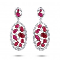 1.12ct Diamond & 4.62ct Ruby 14k White Gold Earrings