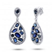 1.09ct Diamond & 5.34ct Blue Sapphire 14k White Gold Earrings