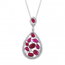0.60ct Diamond & 2.81ct Ruby 14k White Gold Pendant Necklace