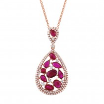 0.60ct Diamond & 2.81ct Ruby 14k Rose Gold Pendant Necklace