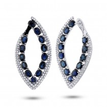 1.13ct Diamond & 6.33ct Blue Sapphire 14k White Gold Earrings