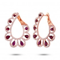 1.18ct Diamond & 2.50ct Ruby 14k Rose Gold Earrings