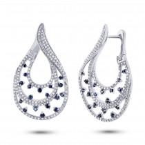 1.49ct Diamond & 0.83ct Blue Sapphire 14k White Gold Earrings