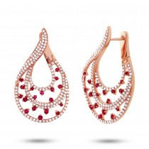 1.49ct Diamond & 0.93ct Ruby 14k Rose Gold Earrings