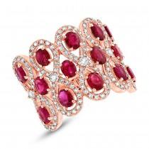 0.92ct Diamond & 2.65ct Ruby 14k Rose Gold Ring
