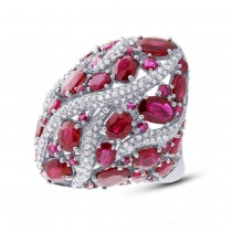 0.81ct Diamond & 8.17ct Ruby 14k White Gold Ring