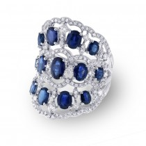1.04ct Diamond & 4.46ct Blue Sapphire 14k White Gold Ring