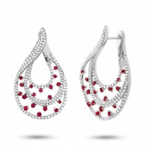 1.49ct Diamond & 0.93ct Ruby 14k White Gold Earrings