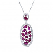0.60ct Diamond & 2.88ct Ruby 14k White Gold Pendant Necklace
