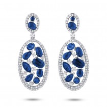 1.12ct Diamond & 5.30ct Blue Sapphire 14k White Gold Earrings