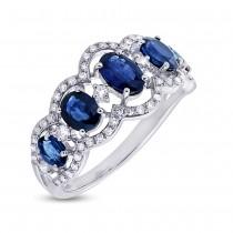 0.40ct Diamond & 1.96ct Blue Sapphire 14k White Gold Ring