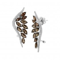 0.75ct Diamond & 5.91ct Smokey Topaz 14k White Gold Ear Crawler Earrings