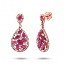 1.09ct Diamond & 4.38ct Ruby 14k Rose Gold Earrings