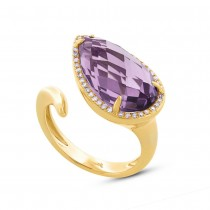 0.15ct Diamond & 7.00ct Amethyst 14k Yellow Gold Ring