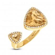 0.20ct Diamond & 4.46ct Citrine 14k Yellow Gold Ring