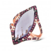 0.15ct Diamond & 6.52ct Amethyst & Pink Sapphire 14k Rose Gold Ring