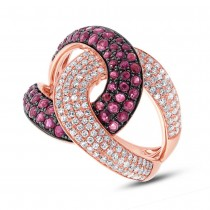 0.59ct Diamond & 1.15ct Ruby 14k Rose Gold Ring