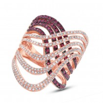 1.03ct Diamond & 1.42ct Ruby 14k Rose Gold Ring