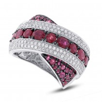 0.57ct Diamond & 2.36ct Ruby 14k White Gold Ring