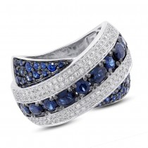 0.57ct Diamond & 2.25ct Blue Sapphire 14k White Gold Ring