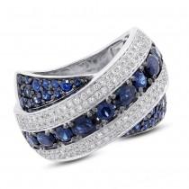 0.57ct Diamond & 2.25ct Blue Sapphire 14k White Gold Ring