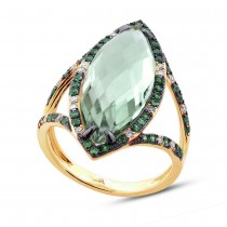 0.15ct Diamond & 6.79ct Green Amethyst & Green Garnet 14k Yellow Gold Ring