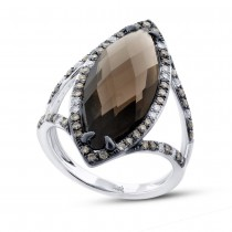 0.53ct White & Champagne Diamond & 5.94ct Smokey Topaz 14k White Gold Ring