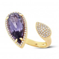 0.34ct Diamond & 4.68ct Amethyst 14k Yellow Gold Ring