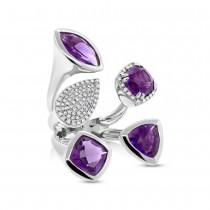 0.44ct Diamond & 6.84ct Amethyst 14k White Gold Ring Size 6