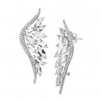 0.75ct Diamond & 5.65ct White Topaz 14k White Gold Ear Crawler Earrings