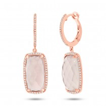 0.34ct Diamond & 12.85ct Rose Quartz 14k Rose Gold Earrings
