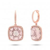 0.52ct Diamond & 23.39ct Rose Quartz 14k Rose Gold Earrings
