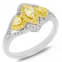 0.45ct Marquise Shape Center and 0.54ct Side 18k Two-tone Gold Natural Yellow Diamond Ring