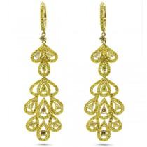 4.43ct 18k Yellow Gold Gia Certified Fancy Color Diamond Earrings