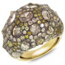 9.52ct 18k Yellow Gold Fancy Color Diamond Ring