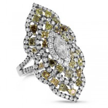 3.88ct 18k White Gold White & Fancy Color Diamond Ring